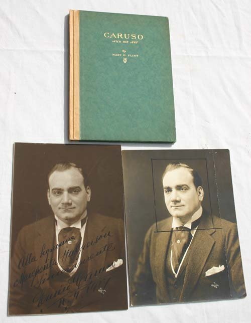 1: Rare sgnd Enrico Caruso vintage photo dated 1917 w b