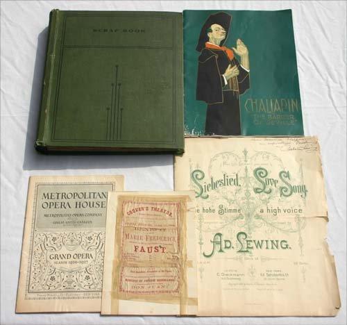 9: WWI scrapbook & vintage Opera pamphlets
