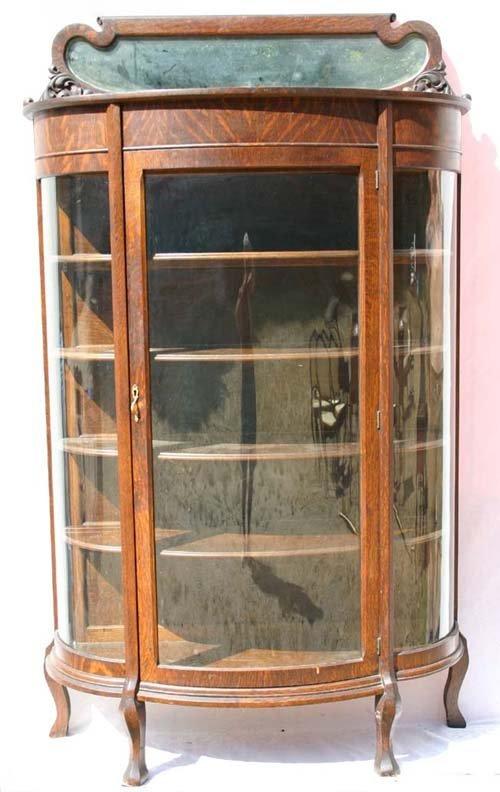 15: Victorian oak orig finish bowfront china cabinet w