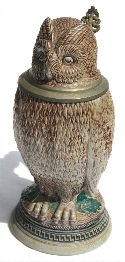 17: Owl form stoneware stein