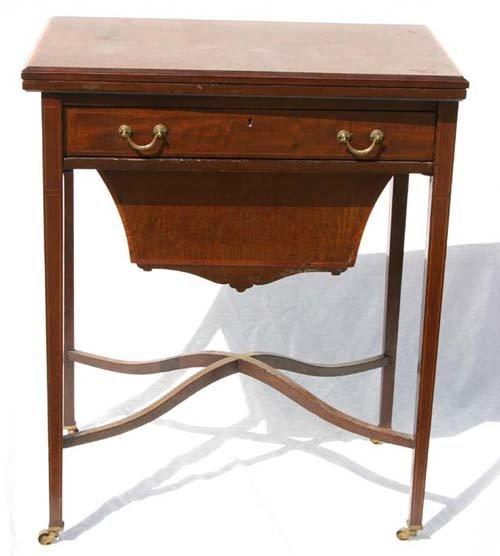 20: Edwardian period inlaid lady's work table w inlaid
