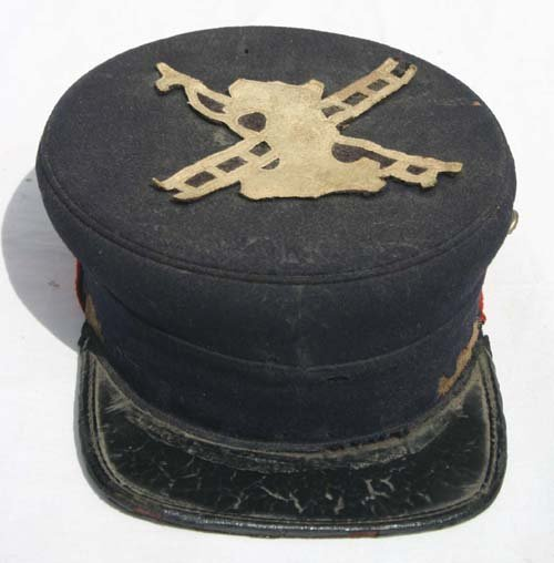 22: great 19thC Fireman's hat w buttons & felt applique
