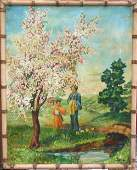 344: 29x23 o/c of Japanese landscape featuring mother &