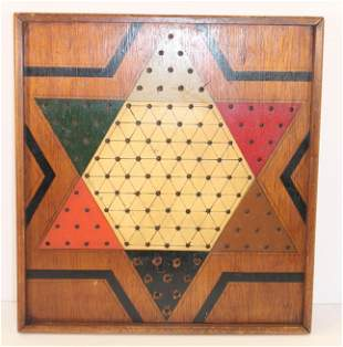 """Antique painted Chinese Checkers gameboard - 14 3/4""""x15"""