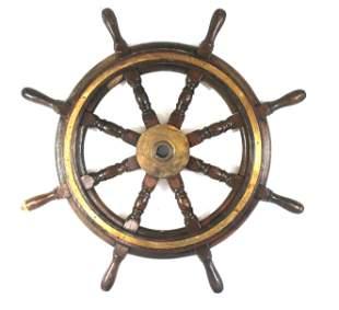 "Antique wooden & brass ship's wheel - ""John Hastie & Co"