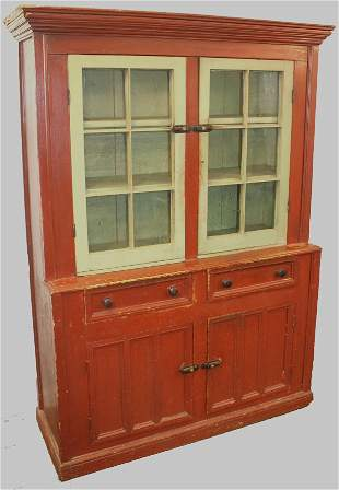 19thC stepback cupboard in orig red & apple green paint