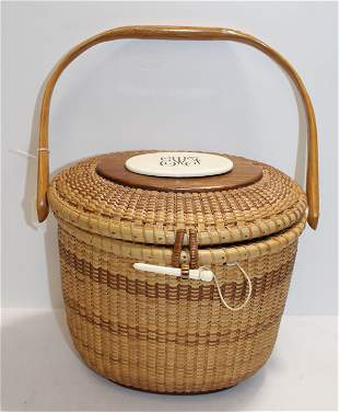 Nantucket swing handled basket w bone monogrammed
