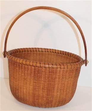 Nantucket oval open top basket w swing handle - approx