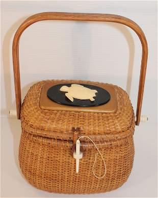 Contemporary Nantucket swing handled basket sgnd Farnum