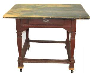 18thC 1 drawer French or Canadian work table