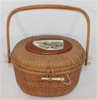 Contemporary Nantucket swing handle basket w bone