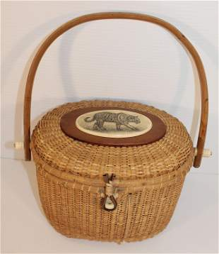 Contemporary Nantucket swing handled basket w bone