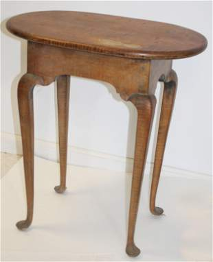 """Antique style tiger maple stand w oval top - 24""""x15"""