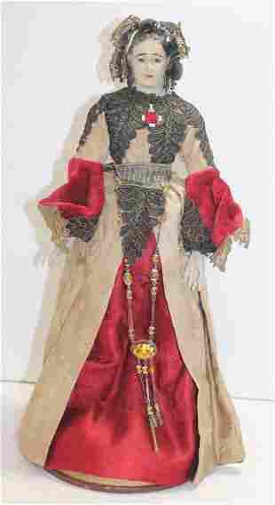 """ca 1860-1880 cage doll w wooden head & glass eyes - 17"""""""