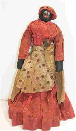 ca 1880 African American nut head broom doll w 2 babies