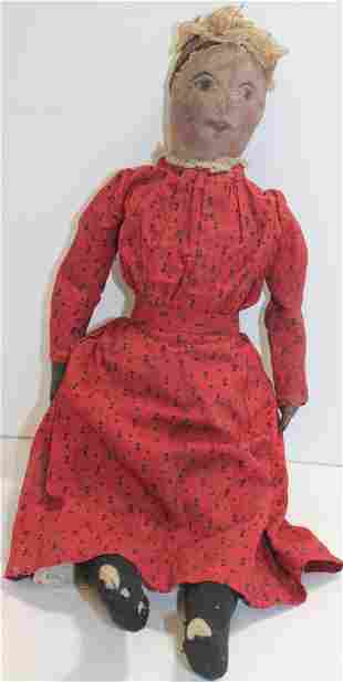 "ca 1900-1910 Cloth doll w oil cloth head - 20"" tall"