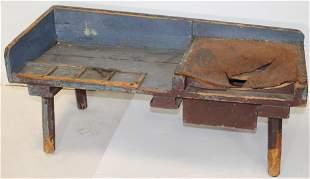 Antique cobbler's bench in blue & Spanish Brown paint w