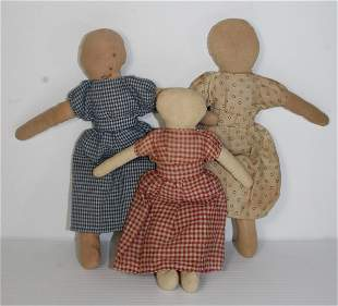 """3 antique cloth dolls - approx 8""""-10"""" tall"""