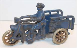 Hubley cast iron Crash Car motorcycle in blue paint - 4