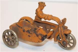 Hubley cast iron Side car motorcyle w rider in orange