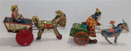 2 antique tin wind-up toys - donkey & cart w farmer &