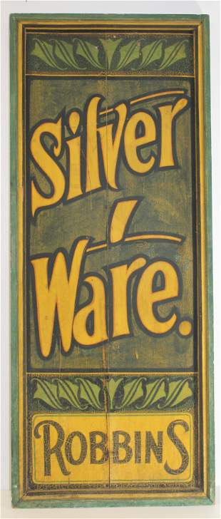 "antique painted ""Silver Ware"" wooden painted trade sign"