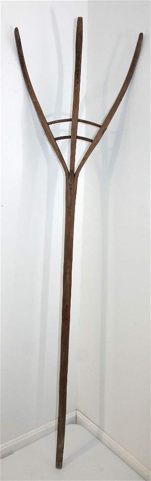 """Antique hay fork sgnd MB Young - 67 1/2"""" tall"""