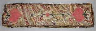 Vintage hooked rug/runner w hearts dated '66 and sgnd w