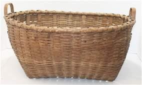 Large antique 2 handled Shaker gathering basket in near
