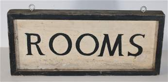 """Antique wooden painted double sided trade sign """"Rooms"""""""