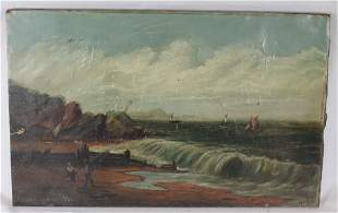 19thC sgnd Jean Yarmouth o/c seascape w figures &