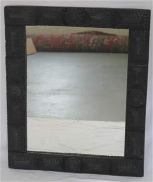 Antique Tramp Art framed mirror in dark blue paint -