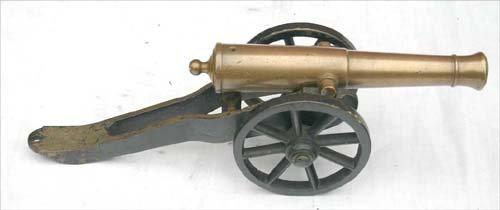 "5: ca 1900 black powder brass cannon - 13 1/2"" long"