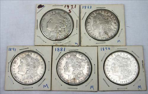 8: lot of 5 Morgan silver dollars - 1881, 1891, 1896,