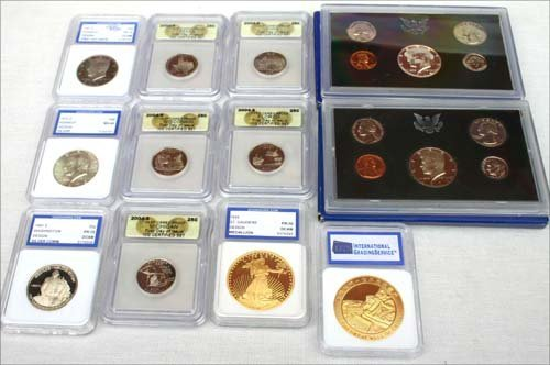 9: Large coin lot of graded coins