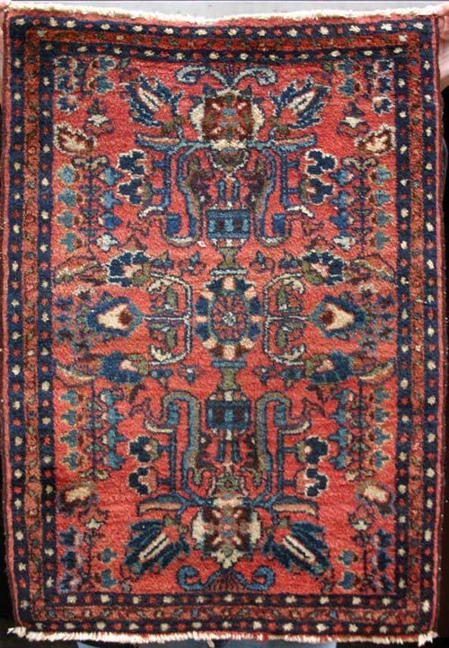 "12: antique 2'2""x3'1"" Sarouk Oriental Mat"