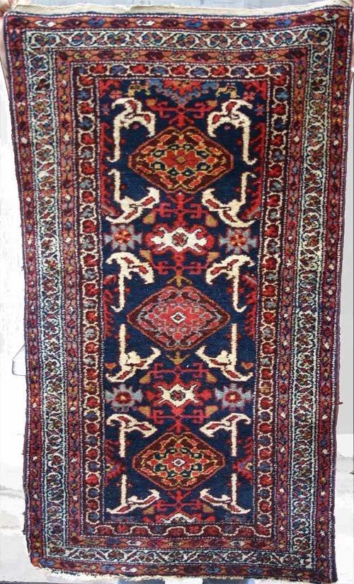 "14: antique 2'5""x4'4"" Hamadan Oriental area rug"