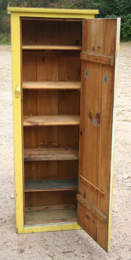 15: antique chimney size pantry cupboard in mustard pai