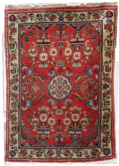 """17: antique 2'x2'9"""" antique Hamadan Oriental area rug"""