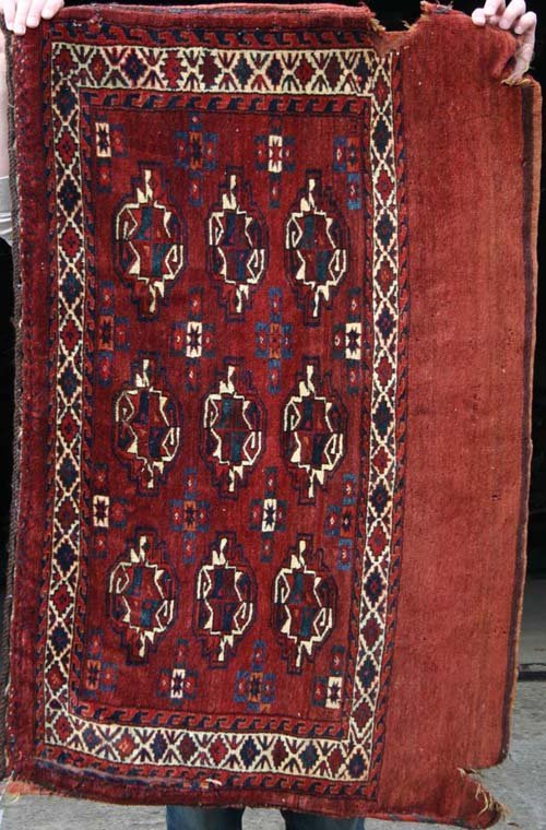 """18: 3'2""""x4'7"""" antique West Turkistan Yamud Chuval"""