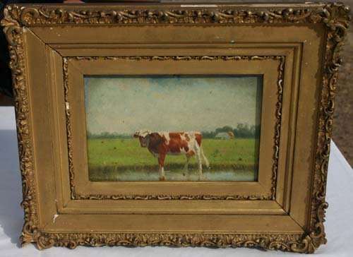 19: Clinton Loveridge 6x9 o/bd cow in a pasture