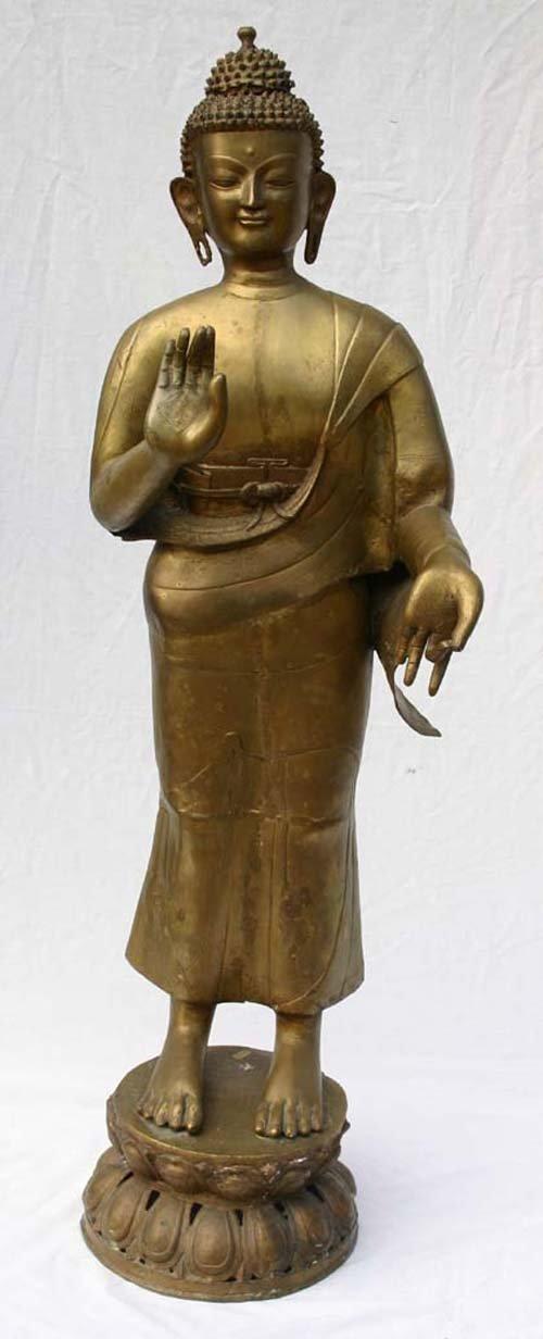 """20: Fine Mid 20thC brass Thai Buddha sculpture  - 4'6"""""""