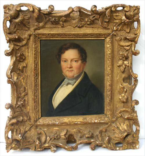 22: ca 1860's 7 1/4 x 6 o/c portrait of a gentleman mar