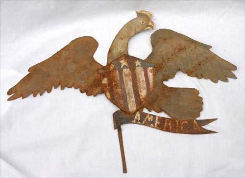 23: late 19thC PA sheet metal patriotic eagle plaque