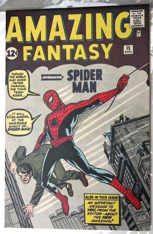 "99: Important ""Amazing Fantasy #15"" comic book ca 196"