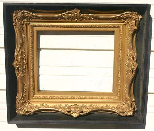17: Fancy antique gold gilt frame in shadowbox frame -