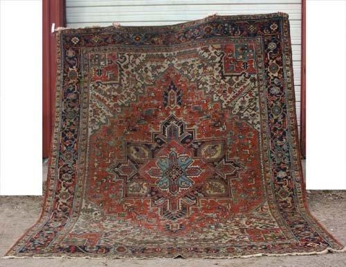 """21: 9'4""""x11' antique Heriz Oriental Rug"""