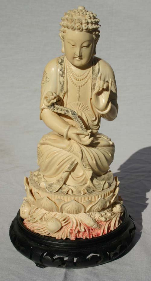 133: Outstanding quality Chinese ivory carved figure wi