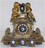 "Antique French clock w bronze putti - 13"" tall x 13"""