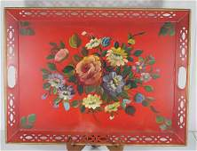 Contemporary large red tole rectangular tray w hand
